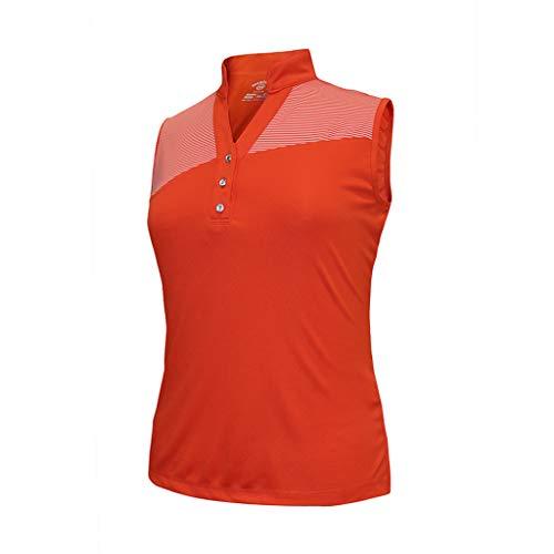 (Monterey Club Ladies Dry Swing Stripe Contrast Sleeveless Pique Shirt #2463 (Coral Orange/Spice, Large))