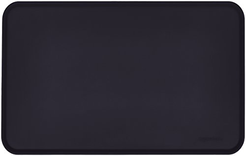 (AmazonBasics Silicone Waterproof Pet Food And Water Bowl Mat For Dog or Cat - Pack of Two, 18.5 x 11.5 Inches, Black)