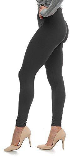 LMB Women's Ultra Soft Leggings Stretch Fit 40+ Colors - Plus Size - Titanium ()