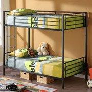 Twin Over Twin Premium Metal Bunk Bed, Black