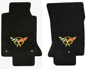 C5 Corvette Classic Loop Black Floor Mats - Crossed Flags Logo in -