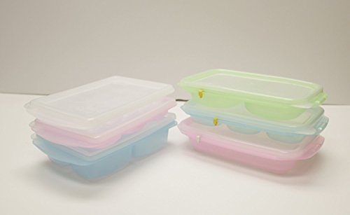 HSI Easily Pop Out 1, 2, 3, 4, 6, 15 Compartments Ice Cube, Baby Food sets, BPA-free PE Tray with Clear Lid in Multi Color, RRE Ice Cube Tray, Set of 6 by HSI (Image #1)'