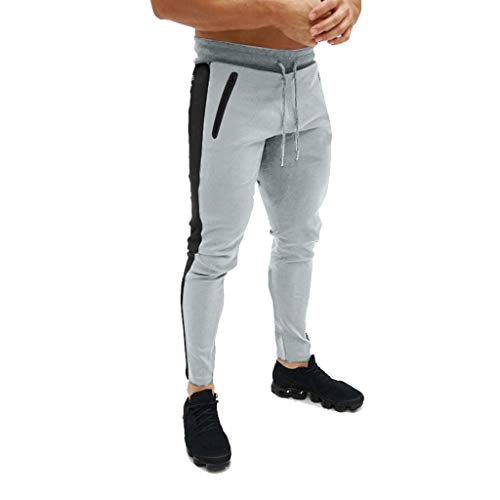 Men's Gym Jogger Pants Slim Fit Workout Running Sweatpants with Zipper Pockets Drawstring Tapered Chino Trousers Gray