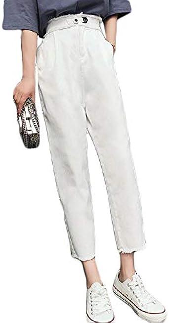 Sodhue Femme Poche en Vrac Pantalons Taille Haute Tissu