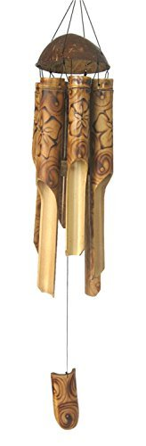 "Burnt Flower Bamboo Windchime 37"" Beautiful Sound - New"