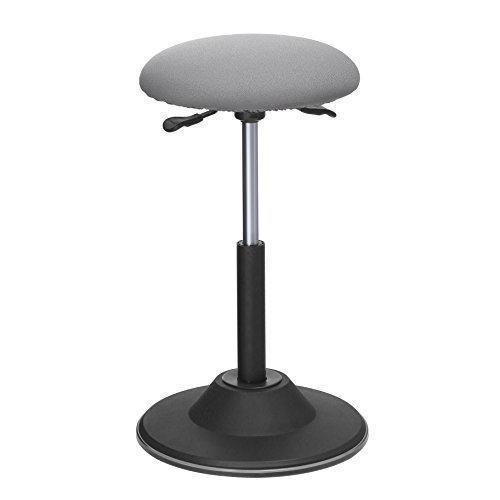 SONGMICS Standing Desk Chair, Adjustable Height Ergonomic Standing Stool, 360° Swivel Sitting Balance Chair, Gray UOSC01GY ()