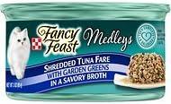 Fancy Feast Medleys Shredded Tuna Fare with Garden Greens in a Savory Broth, 3-oz, case of 24
