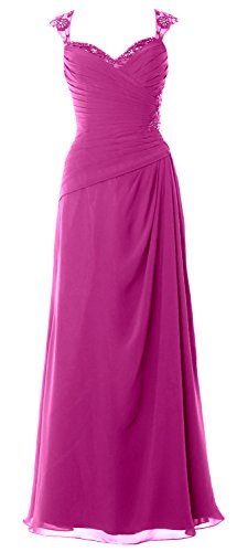 MACloth Women Cap Sleeves Long Mother of Bride Dress Open Back Party Formal Gown Fuchsia