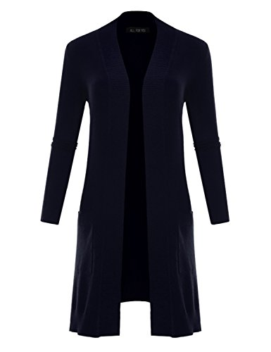 V-neck Duster (ALL FOR YOU Women's V-Neck Long Duster Cardigan Cardigan Sweater Navy Large)