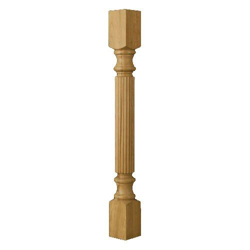 Brown Wood-Traditional Reeded Island Half Column-Alder 01150220AL2