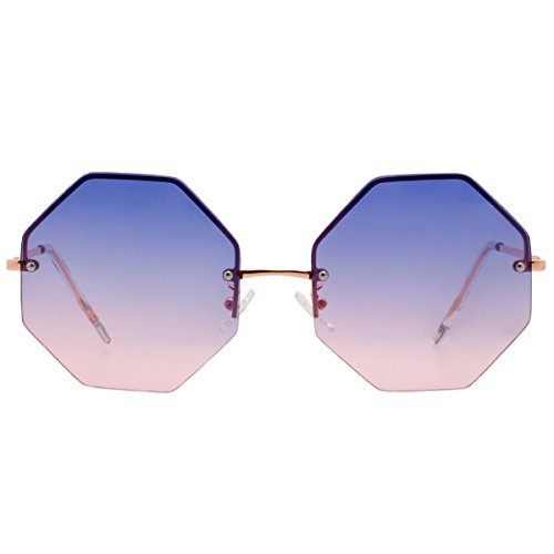 (VIVIENFANG Women Fashion Rimless Oversized Geometric Sunglasses Ocean Color UV400 Protection 87157A Purple+Pink)