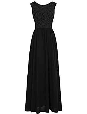 TideClothes ALAGIRLS Lace Sequins Bridesmaid Dress Long Chiffon Formal Gowns V Back