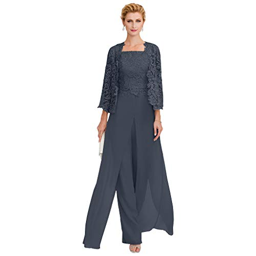 TS Pantsuit Straps Floor Length Chiffon Corded Lace Split Front Mother of The Bride Dress with Appliques Dark Navy (Best Formal Suits 2019)