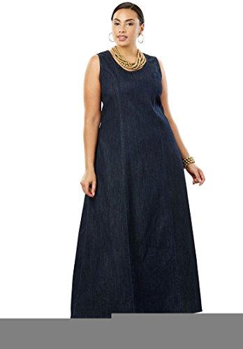 's Plus Size Denim Maxi Dress Indigo,20 (Denim London Skirt)