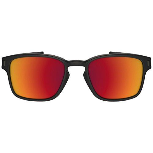 Oakley Men's Latch Squared Non-Polarized Iridium Rectangular Sunglasses, Matte Black w/Torch Iridium, 52 mm by Oakley (Image #1)