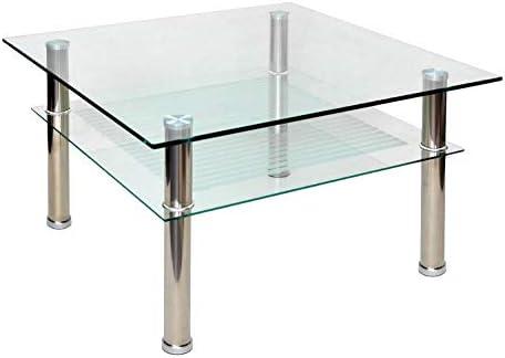 ts-ideen - Mesa auxiliar (cristal y acero inoxidable, 80 x 80 cm ...