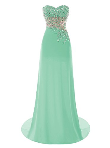 Beaded 2016 Damen Kleider Fanciest Lang Abendkleider Ball Mint Formelle Kleider White wP5OxOqE