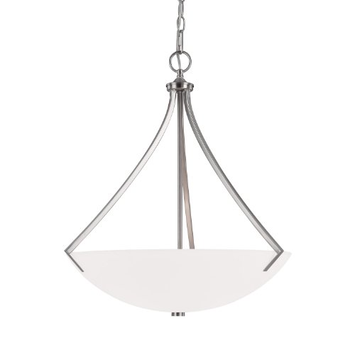 Capital Lighting 4038BN Pendant with Soft White Glass Shades, Brushed Nickel (Stanton 3 Light Pendant)