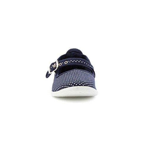 Lilley Womens Navy Polka Dot Canvas Bar Shoe Blue vXrHU