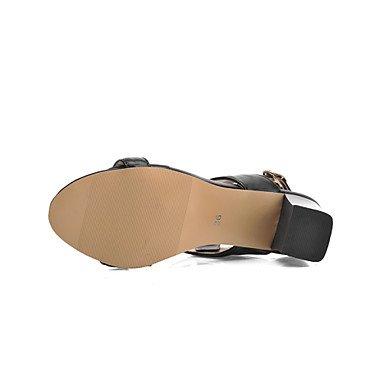 LvYuan Mujer Sandalias Pump Básico Semicuero Verano Vestido Pump Básico Combinación Tacón Robusto Blanco Negro Morado 2'5 - 4'5 cms White