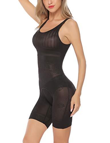 (Aibrou Womens Shapewear Tummy Firm Control Bodysuit Seamless Body Shaper Open Crotch Shaping Pants Black S)