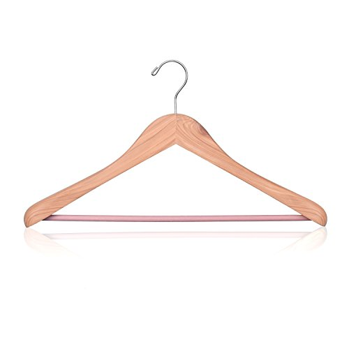 HOUSE DAY Cedar Wooden Hangers Natural Fragrance Wide Shoulder Wooden Clothes Coat Hangers Natural Finish Precisely Cut Notches For Suit Jeans 1-pack