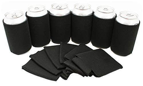 TahoeBay 12 Neoprene Can Sleeves - Beer Coolies for Cans and Bottles - Insulated Blank Collapsible Drink Coolers (Black, 12)