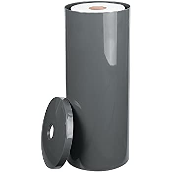 MDesign Free Standing Toilet Paper Holder For Bathroom Storage   Slate Gray