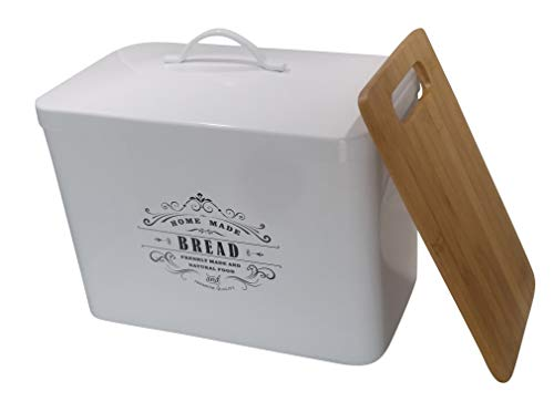 Metal bread box + cutting board. Storage bin kitchen decor. Kitchen storage container. breadbox basket. kitchen countertop organizer. Tin box. Premium Present brand.