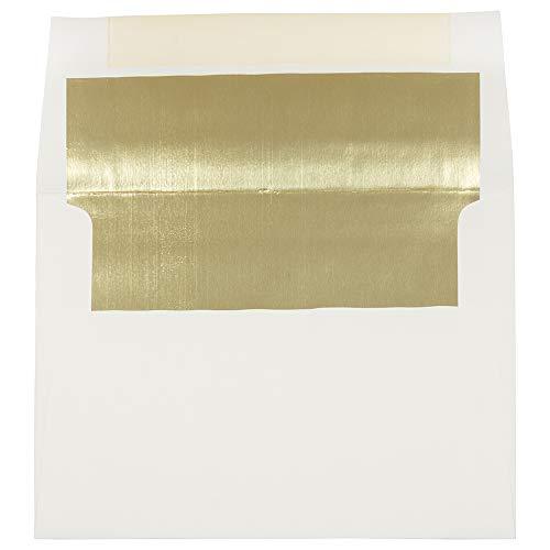 Gold Lined Ecru Envelope - JAM PAPER A7 Foil Lined Invitation Envelopes - 5 1/4 x 7 1/4 - Ecru with Gold Foil - 25/Pack
