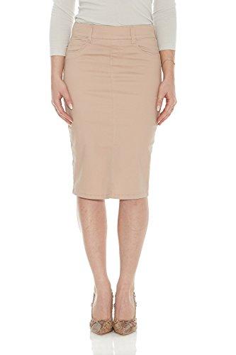 Skirt Beige Womens (Esteez Jean Skirt for Women Knee Length Brooklyn Nude 6)