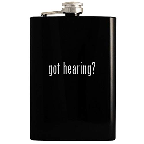 got hearing? - Black 8oz Hip Drinking Alcohol Flask (Roll Of Thunder Hear My Cry Little Man)