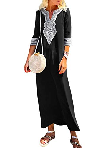 GOSOPIN Women Half Sleeve V Neck Caftan Maxi Dress Medium - Caftan Sleeve Dress