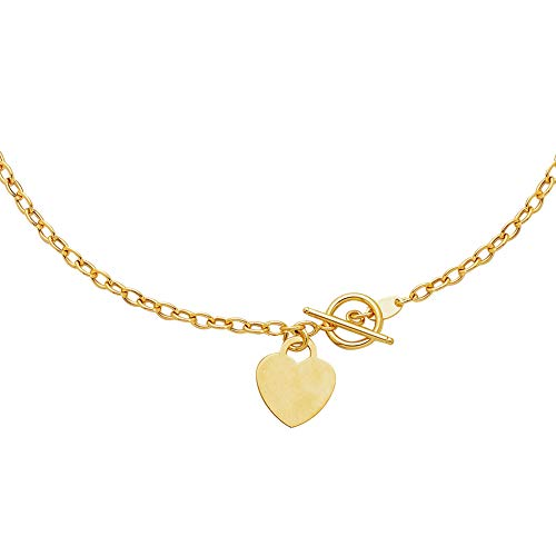 JewelStop 14K Solid Yellow Gold link Toggle 3mm Necklace Heart Tag 17