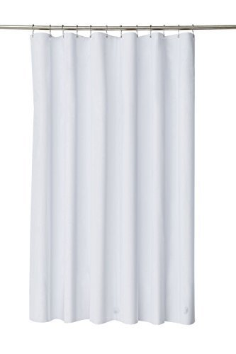 Pinzz Thicken Mildew Resistant Washable Polyester Fabric White Shower Curtains Liners Waterproof No Odor With Plastic