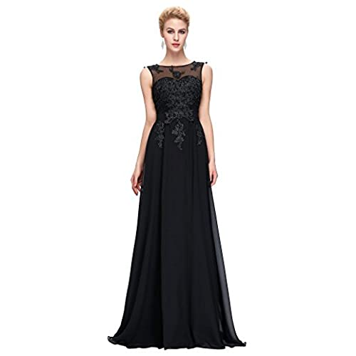 Black Long Prom Gown Backless Bridesmaid Evening Dresses,Black,US 14
