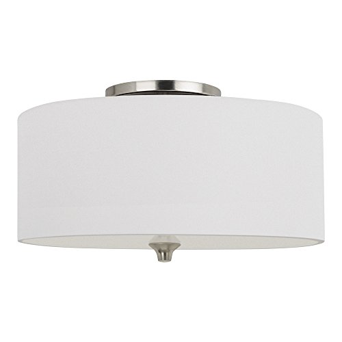 Etched White Opal Glass Diffuser - Sea Gull Lighting 75952-962 Stirling Two-Light Flush Mount Ceiling Light with Satin Etched Glass Diffuser and White Linen Fabric Shade, Brushed Nickel Finish