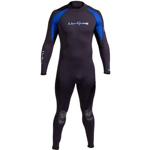 NeoSport Wetsuits Men's XSPAN 5mm Full Jumpsuit, Blue Trim, Large - Diving, Snorkeling & Wakeboarding