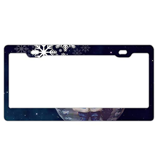(Holiday Christmas Bubble Santa Night Sky Snowflake customized License Plate Frame Tag Holder 2 Holes US Plate Covers)