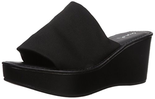 Qupid Women's Bali-55X Wedge Sandal, Black, 8.5 M US (Bali Slide Sandal)