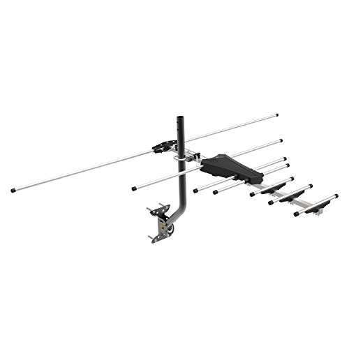 GE 33685 Pro Outdoor Yagi TV Antenna, HDTV Antenna, Attic, Compact Design, Long Range Antenna, Digital Yagi Antenna, Directional Antenna, 4K 1080P VHF UHF, Black