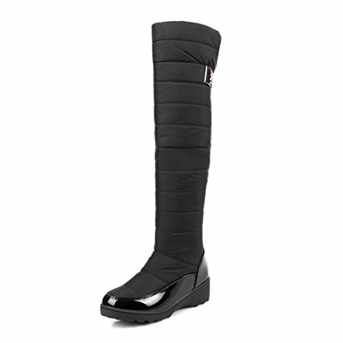 Winter snow boots chunky size Knee Boots warm thick cotton boots boots Black