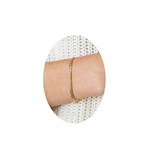 Dainty Gold Curb Chain Bracelet,2.5mm Delicate Flat Curb Link Chain Bracelets for Women,Cuban Chain Bracelet Curb Mens Gold Bracelet
