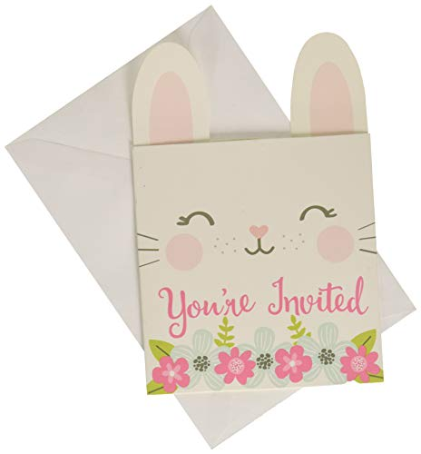 Creative Converting Party Supplies, Bunny Party Pop-up Invitations, Invites, Multicolor, 0.04X4X6in, 8Ct]()