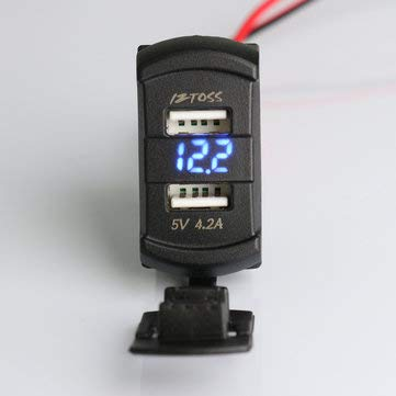 C-FUNN 12V 4.2A Dual Usb Charger Led Volt Meter Voltage Meter Switch Panel - Blue: