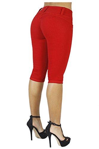 Curvify Women's Butt-Lifting Jeans Capris | High-Rise Waist 764 Red5 (Trim Capris Knit)