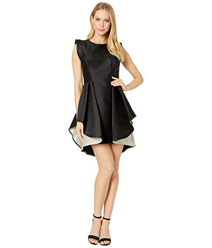Halston Heritage Women's Structured Cap Sleeve Fit & Flare Dress, Black/Champagne, 6