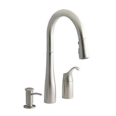 "Kohler Simplice Three-hole kitchen sink faucet with 9"" pull-down spout, soap dispenser (K-R648-VS)"