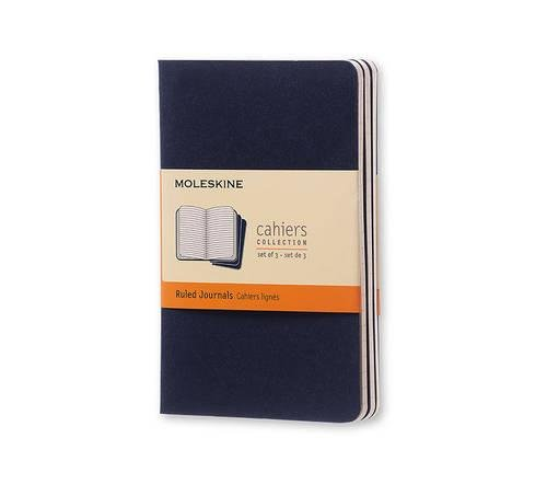 Cahier Pocket Ruled Blue Cover (Moleskine Srl), Pack of 3