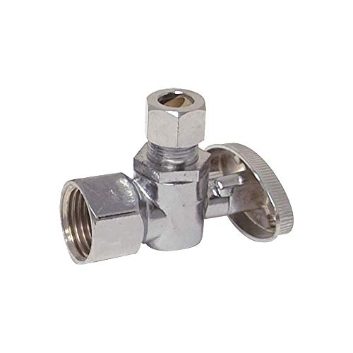 Eastman 10732LF 1/4-Turn Brass Angle Stop Valve with Brass Ball Mechanism, 1/2-inch Iron Pipe Inlet x 1/4-inch OD Compression Outlet, Chrome Plated ()